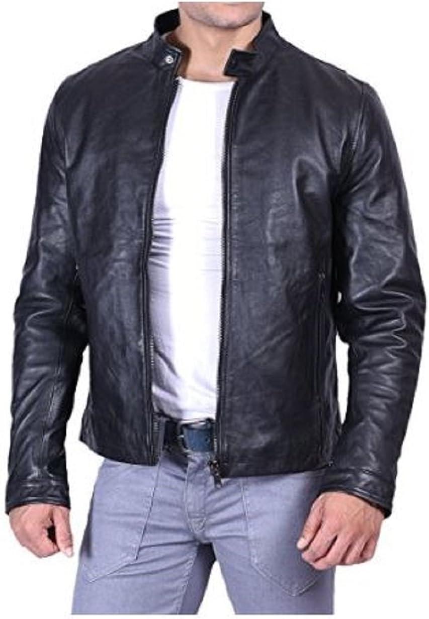 NBENTERPRISES Mens Slim Fit Leather Bomber Dark Brown Jacket