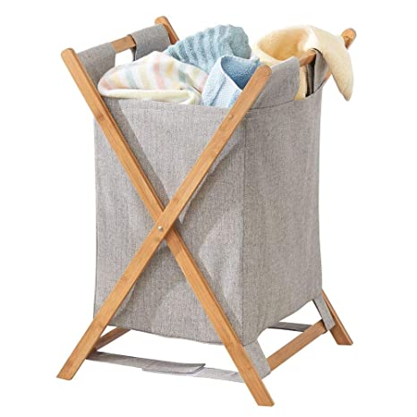 mDesign Bamboo Wood Laundry Hamper Sorter Cart, Portable and Collapsible Folding Clothes Basket Storage with Removable Poly/Cotton Liner Fabric Bag, X ...