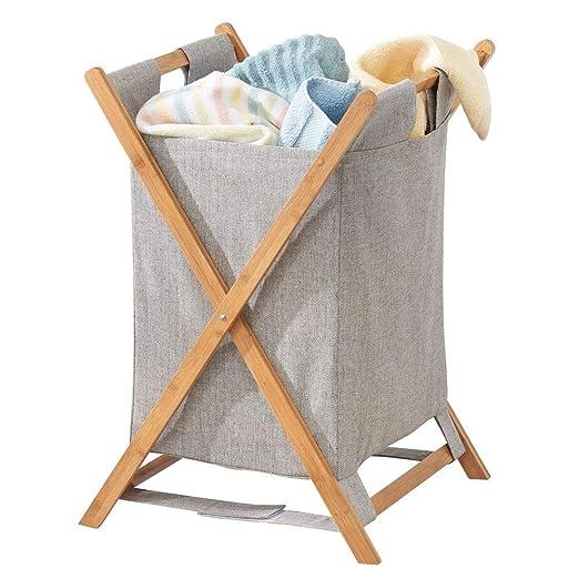 mDesign Cesto Plegable para Ropa Sucia – Bolsa para la Colada portátil – Mueble con cesto para Ropa Sucia extraíble – Organizador de baño de bambú y ...