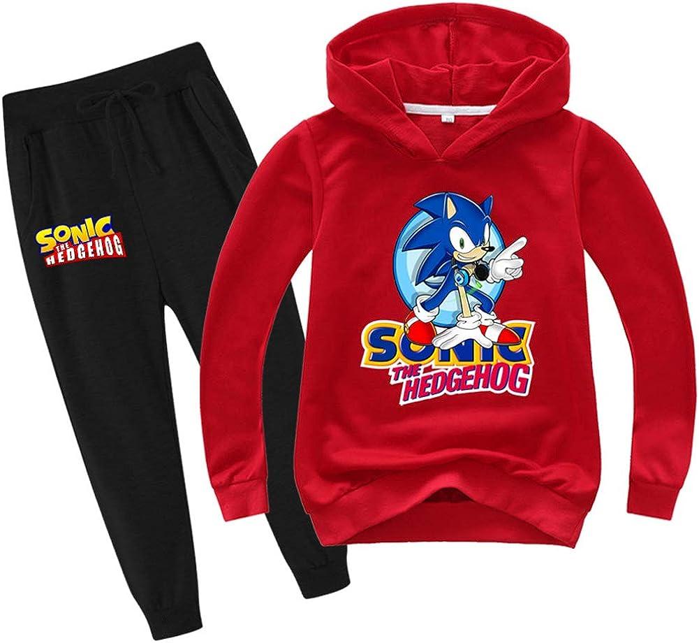 SUPFANS Sonic The Hedgehog Sudadera fina con capucha y pantalones de ch/ándal para ni/ños