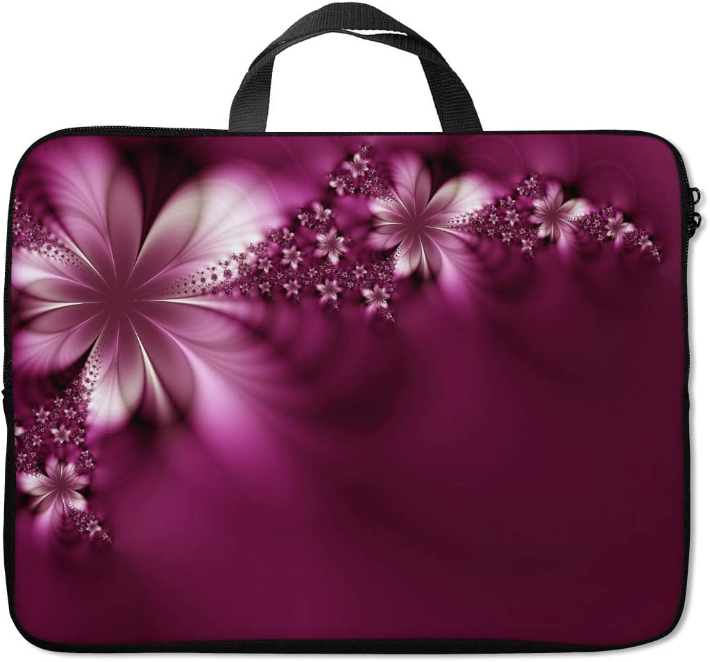 Britimes Laptop Sleeve Case Protection Bag Waterproof Neoprene PC Cover Water Resistant Notebook Handle Carrying Computer Protector Beautiful Purple Flower 14 15 15.6 inches