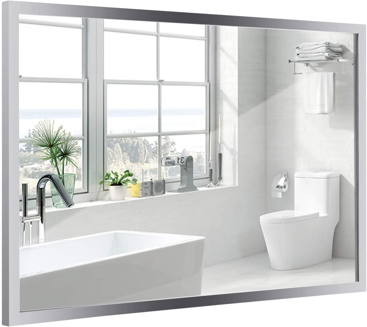 Tangkula Bathroom Mirror, Wall Mounted Simple Modern Rectangular Stainless Steel Frame Mirror, Aluminum Backed Floating Glass, Bedroom Hangs Horizontal Vertical Vanity Mirror 36 x24