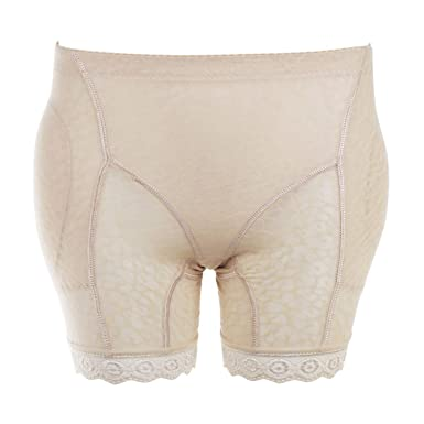 cdc60e4ef7 Women Mid Waist Seamless Shapewear Panties Fake Padded Hip Pants Sexy Lace  Breathable Control Anti Emptied at Amazon Women s Clothing store