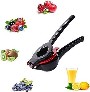 Premium Quality Metal Lemon Lime Squeezer - Manual Citrus Press Juicer,. Black and Red