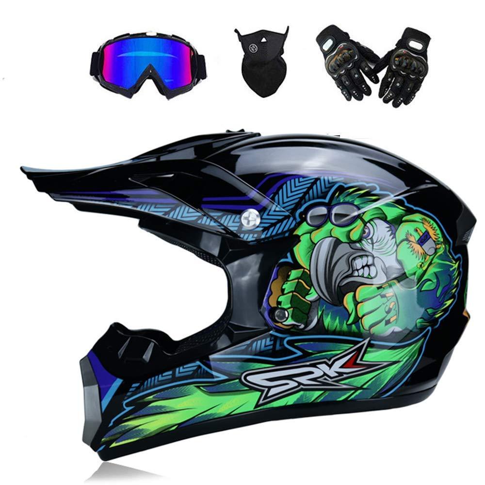 Casque Motocross Adulte Off Road Dot Dirt Bike Moto VTT VTT VTT Casque int/égral Casque Complet MX Casque Offroad//Masques//Masque//Gants Enfant S 52-53cm-XL 58-59cm, Style 6