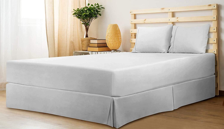 Utopia Bedding Cubre Canapé - Plisado - Encaja Debajo del Colchón y En el Suelo - Falda De La Cama (Blanco, 150 x 200 cm)