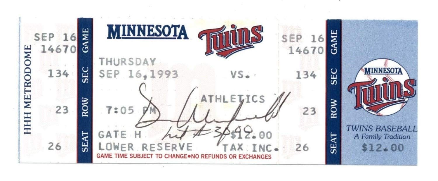 Dave Winfield Hit #3000 Twins Hof Autographed Signed Auto Full Game Ticket 9/16/93 JSA