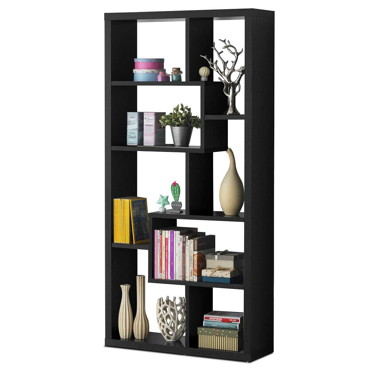 Giantex 8 Cubes Bookcase, Ladder Shelf Freestanding Corner Storage Bookshelf, 4-Layer Organizer Rack Display Cabinet Black