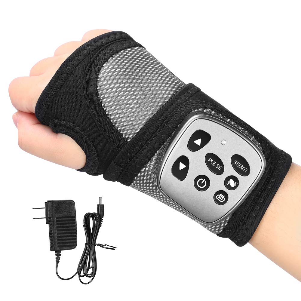 Wrist Massager, Rechargeable Wrist Brace Wrap with Vibration Massage and Heat Therapy for Carpal Tunnel Syndrome, Tendinitis, Arthritis Pain Relief, Fits Left or Right Hand by YHG