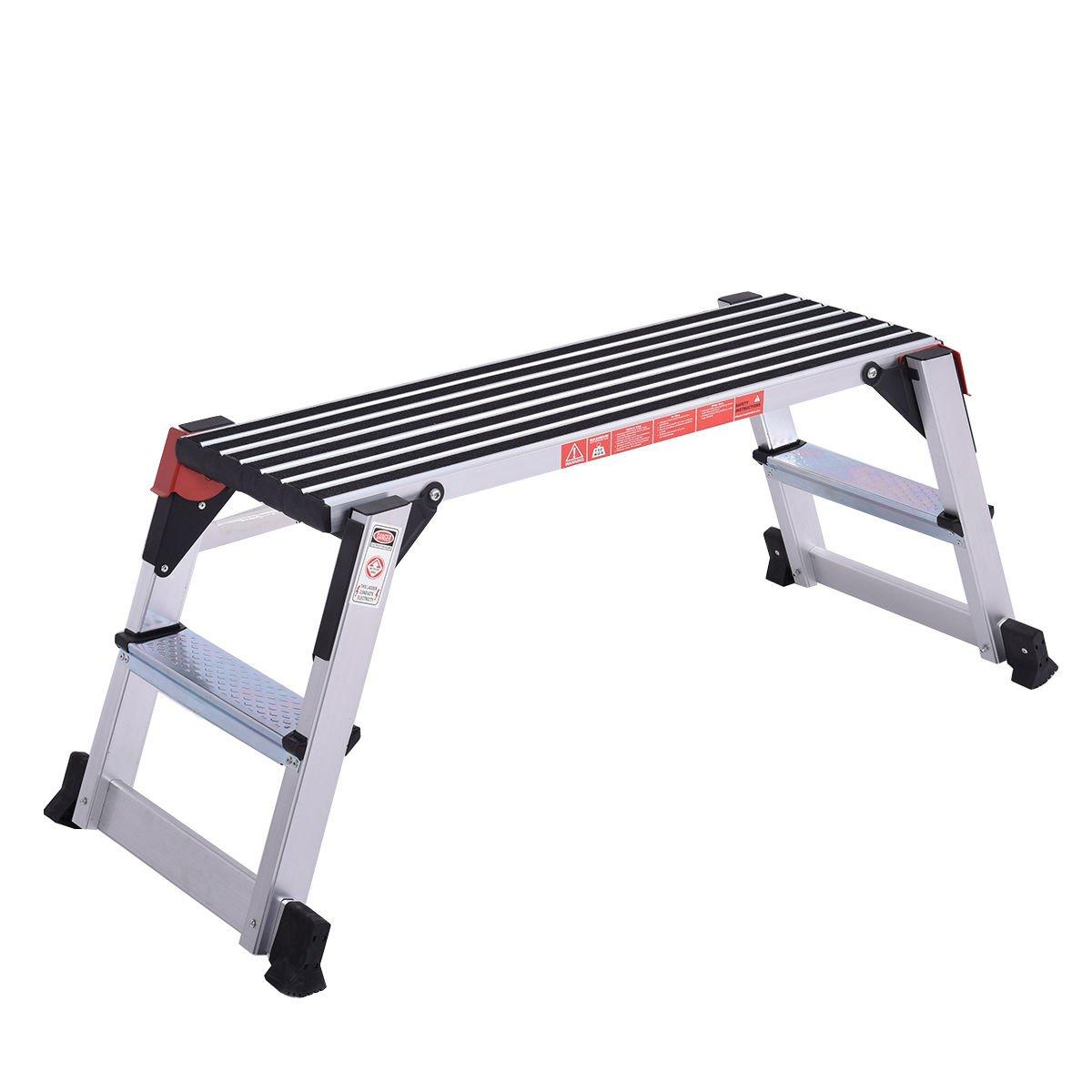 Globe House Products GHP 330-Lbs Capacity Aluminum Non-Slip Step Stool Drywall Ladder Folding Platform
