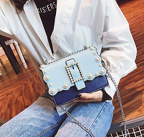 Bag Cross Style Color Blocking Shoulder PU Women's Body Purse QZUnique Pearl Blue Yxw4Bzp