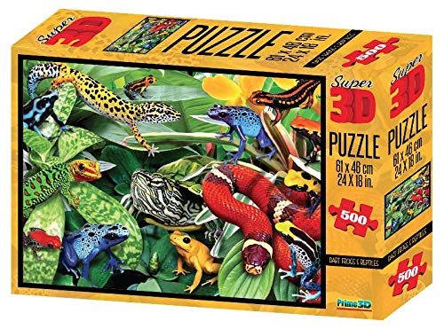Super 3D Lenticular Dart Frogs and Reptiles Jigsaw Puzzle 500 ()
