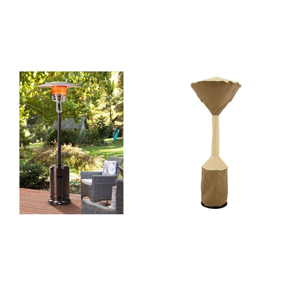 Sunjoy Lawrence Floor-Standing Patio Heater, 88'', Bronze Hammered Finished w/ Classic Accessories Veranda Standup Patio Heater Cover, Pebble, Fits Heaters With up to 34'' Dome and 18.5'' Base by Sunjoy