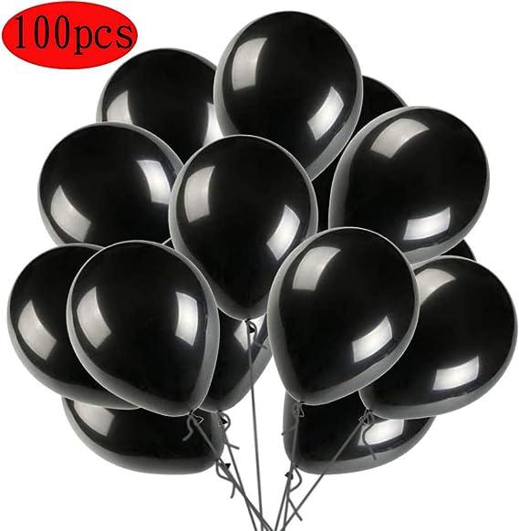 Imagen deQYY Globos Negro,Globos de látex de 12 Pulgadas para Helio,Globos para Bodas Aniversario San Valentin, Cumpleaños Fiesta Graduacion Decoracion