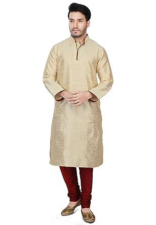 844bca87 Amazon.com: Dupion Silk Kurta Pajama Bollywood Men's Designer Indian Kurta  Pyjama Set S-5XL: Clothing