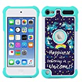 iPod Touch Case, iPod Touch 5 Case, iPod Touch 6 Case, MagicSky [Shock Absorption] Studded Rhinestone Bling Hybrid Dual Layer Armor Defender Protective Case Cover For iPod Touch 5th/6th Gen-UNICORNS