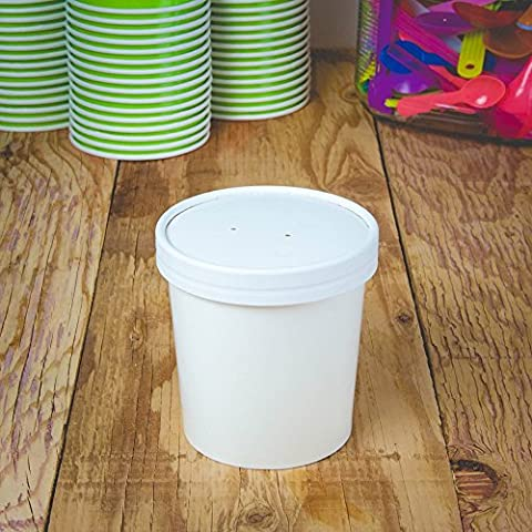 Hot Cup Factory White Paper Containers - Pint 16 oz Containers With Vent Hole Lids For Soup - Heavy Duty Containers Designed to Keep Food and Beverages Hot!
