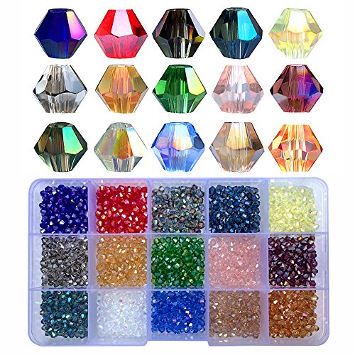 Chengmu 4mm 1500pcs Bicone Glass Beads for Jewelry Making Faceted Shape Multicolor AB Colour Crystal Spacer Beads Assortments Supplies for Bracelets Necklaces with Elastic Cord Storage Box (Faceted 6mm Beads Bicone)