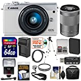 Cheap Canon EOS M100 Wi-Fi Digital ILC Camera & EF-M 15-45mm & 55-200mm is STM Lens (White) with 64GB Card + Battery & Charger + Case + Filters + Strap + Tripod + Flash + Kit