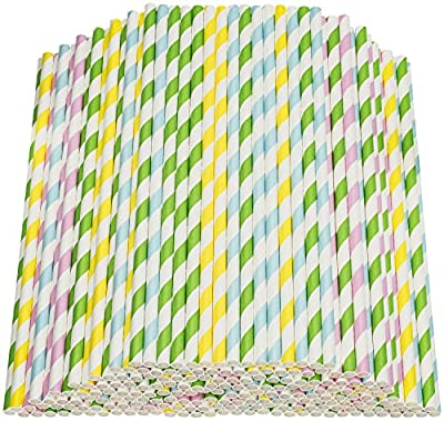 """Paper Straws 200 Pack Biodegradable Colorful Striped Design 8.25"""" Straw for Everyday/Birthday Party/Baby Shower/Wedding/Anniversary and Parties, Long Lasting - by DuraHome"""