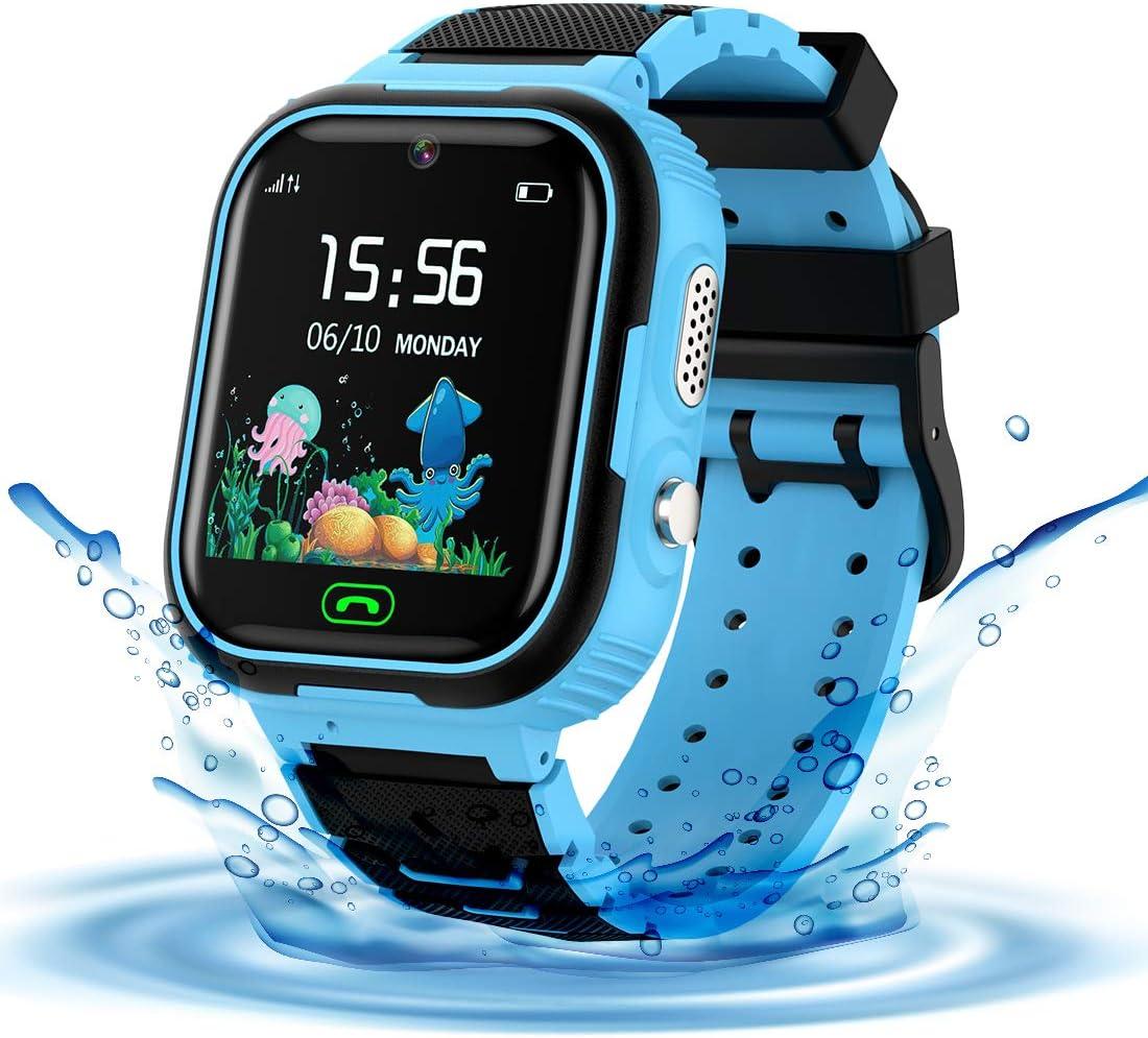 LDB Reloj Inteligente para Niños, SmartWatch Niños LBS Tracker SOS Impermeable Llamada Bidireccional cámara de 3-12 Años Perfecto Regalo de Cumpleaños para Niños Niñas (Azul)
