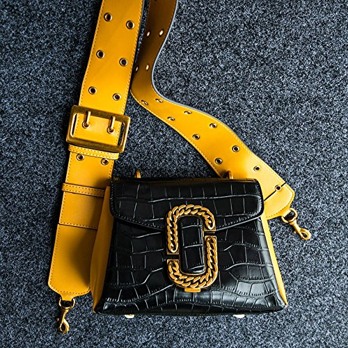 Wide Hit Messenger Lock Crocodile Yellow Square Color Shoulder Women Bag Small Leather Strap qtTHR1