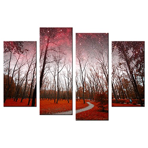 VVOVV Wall Decor - Canvas Print Starry Sky Poster Autumn Forest Painting 4 Piece Red Fall Leaves Pictures Giclee Artwork Modern Lanscape Wall Art Home Decor,Ready To Hang