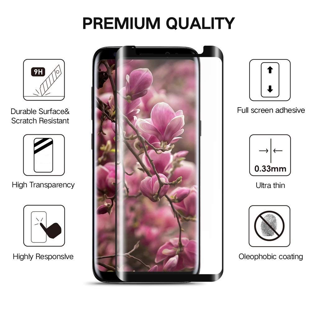 Tembin Tempered Glass Screen Protector for Galaxy S8 Plus [ Full Adhesive ] Case Friendly HD Ultra-clear, Anti-Fingerprint, Bubble-Free Film, Anti Scratch Screen Cover for Samsung Galaxy S8+ [2 Pack]