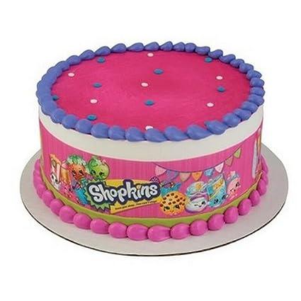 "SHOPKINS PERSONALISED BIRTHDAY CAKE EDIBLE 8/"" ROUND CAKE TOPPER DECORATION"