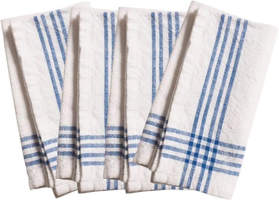 Amazon Com Kaf Home Lyon Set Of 4 Napkins 20 X 20 White W Blue Kitchen Dining