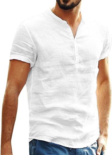 beautyjourney Camisa de algodón y Lino de Manga Corta para Hombre Camisetas Retro holgadas de Color Liso Camisa Casual de Verano Camisa de Playa Tops Blusa: Amazon.es: Ropa y accesorios