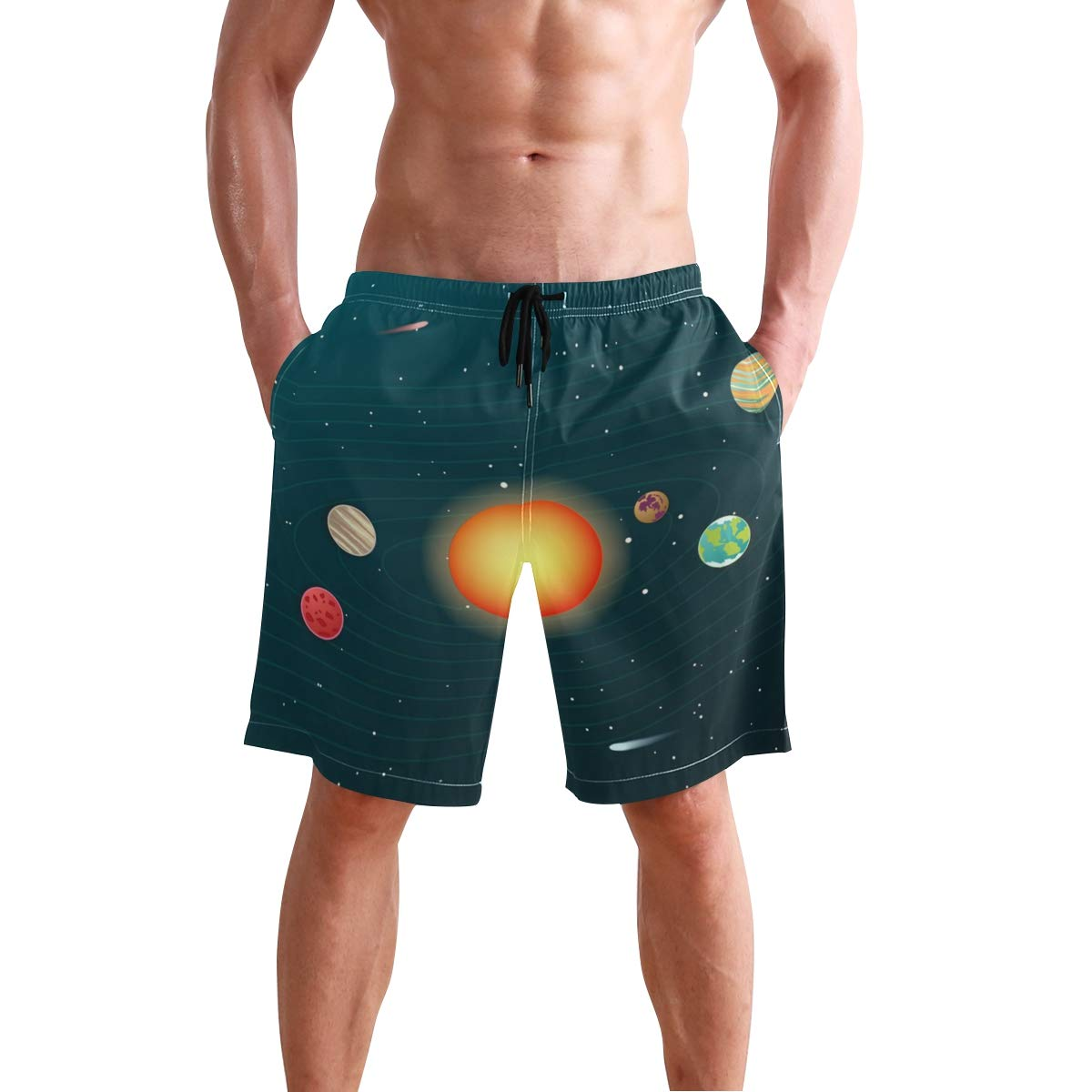 KUWT Mens Swim Trunks Solar System Planet Quick Dry Beach Shorts Summer Surf Board Shorts
