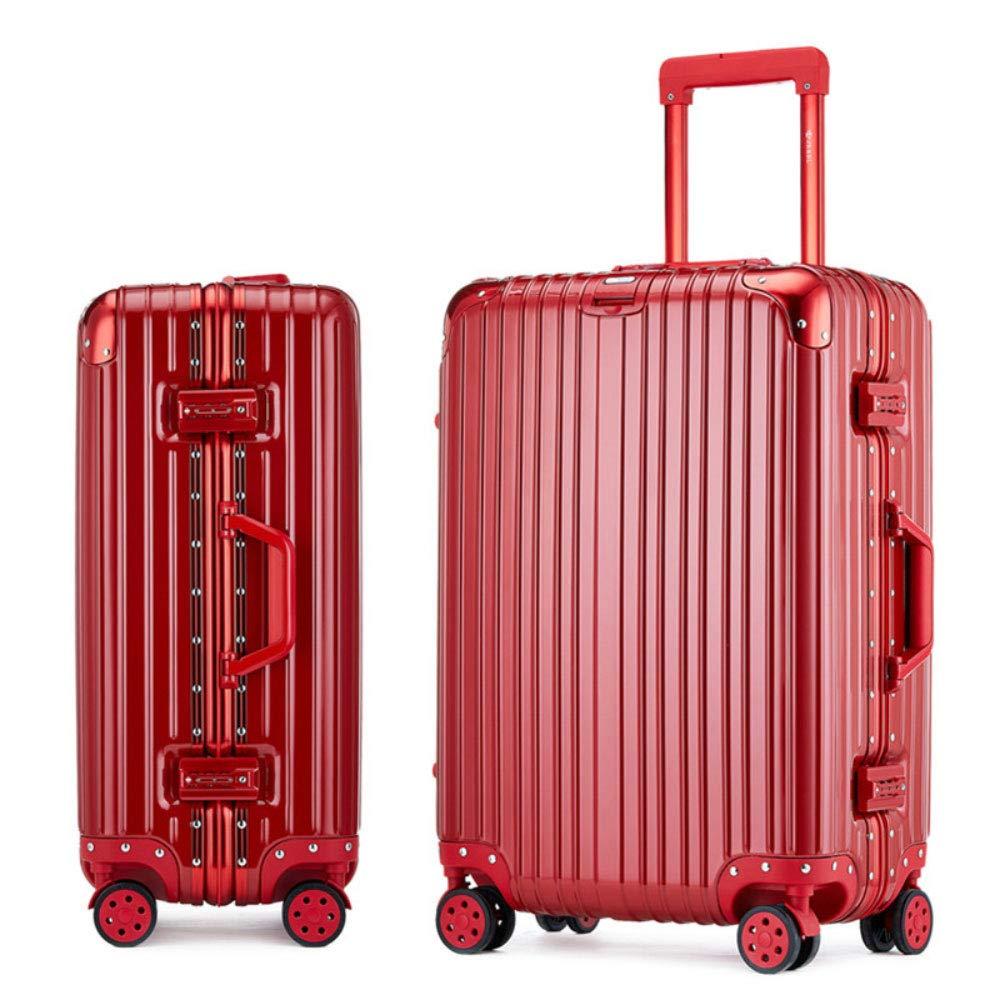 トロリーケースユニバーサルホイール荷物スーツケース20インチ搭乗パスワードスーツケース (Color : 赤, Size : 24 inches)   B07QXMS9NY