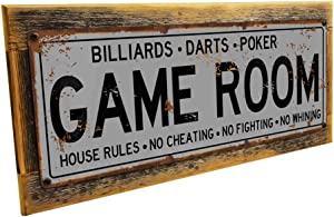 Game Room House Rules Metal Street Sign, Billiards, Poker, Darts, Gaming, Mancave, Den, Wall Decor