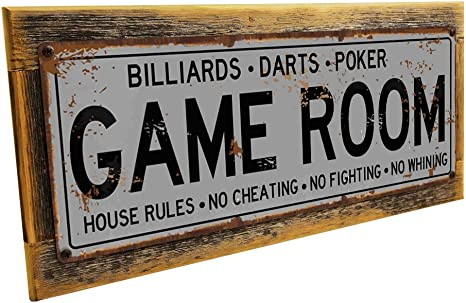 or Gameroom Den Red Poker Metal Sign; Wall Decor for Mancave