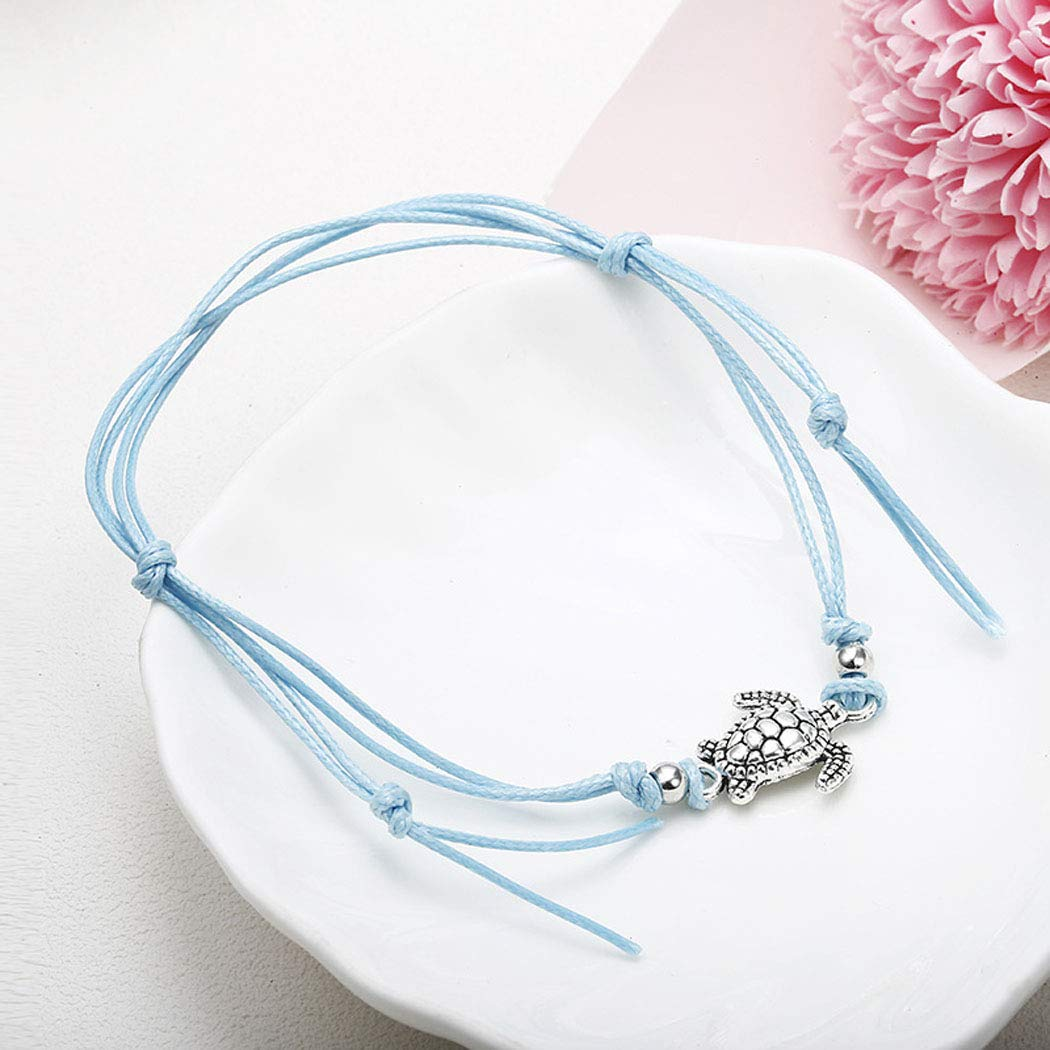 Eternal-Z Sea Turtle Beads Anklet Bracelet Fashion Wax Rope Beach Foot Chain Barefoot Sandal Adjustable 3Pcs Anklet Jewelry for Women Teens Girls