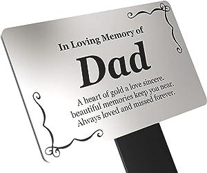 Origin Dad's Memorial Plaque Stake - Silver and Black Acrylic, Waterproof