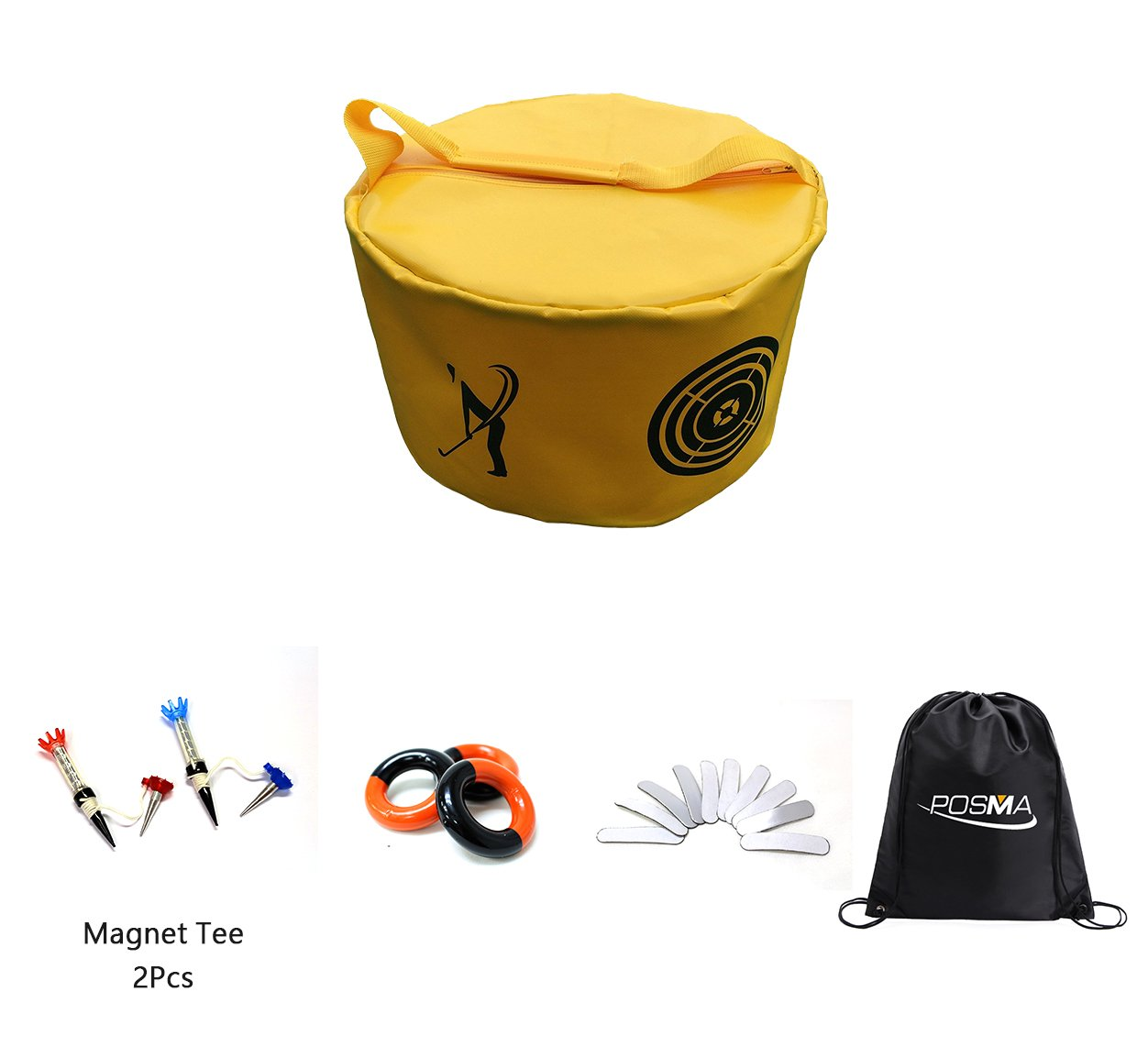 posma hb010 X Golf HittingバッグSwing ImpactパワースマッシュバッグトレーニングSet with重量電源スイングリングレッドandブラック( 3pcs ) +リード重量テープ( 10個) + 3pcsマグネットT型+ Cinch Sack   B077S1147C