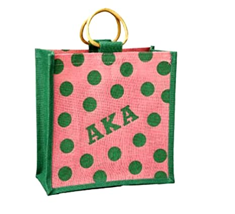 7308fe5ad0a Amazon.com: Alpha Kappa Alpha Sorority Polka Dot Mini Jute Bag: Greek & More