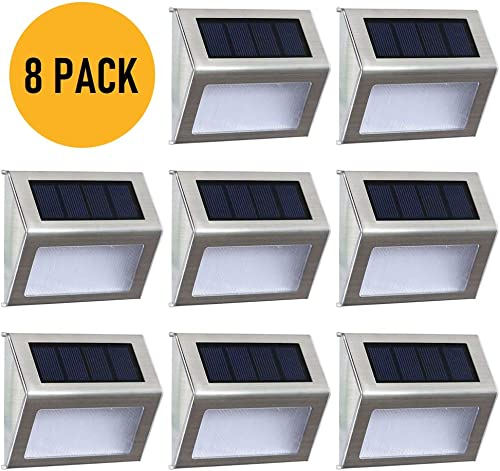 Solar Deck Lights Outdoor Solar Step Lights 6 LED Solar Stair Lights Stainless Steel Outdoor Solar Wall Lights Weatherproof Outdoor Auto On Off Lighting for Steps Stairs Decks Fences 8 Pack