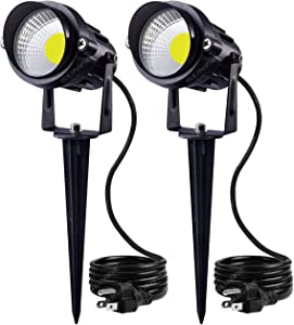 SUNVIE Outdoor Landscape LED Lighting 12W Waterproof Graden Lights COB Led Spotlights with Spiked Stand for Lawn Decorative Lamp US 3- Plug 6500K Daylight White (2 Packs)