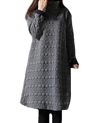 89d9548c182aa ZANZEA Women Loose Oversized High Collar Long Sleeve Casual Pocket Jumper  Tops Tunic Mini Dress  Amazon.co.uk  Clothing