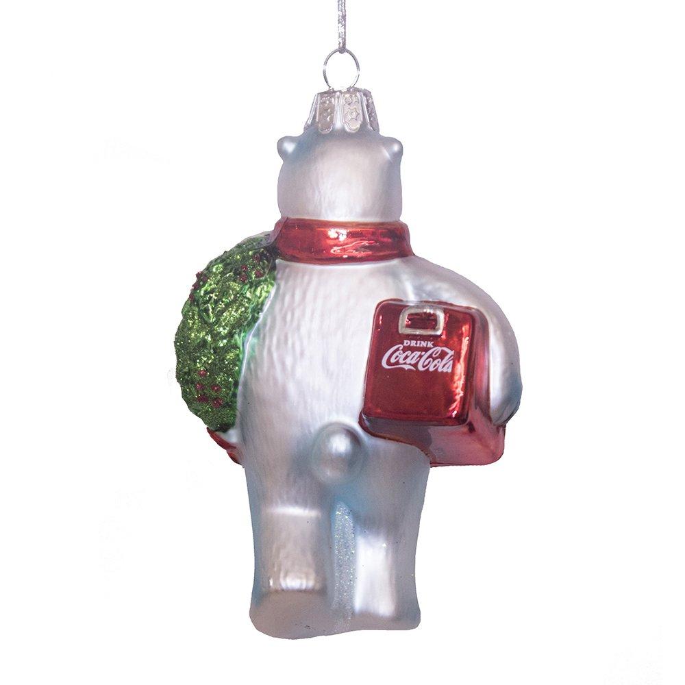 4.5 4.5 Kurt Adler CC4162 Glass Coca-Cola Bear Ornament with Wreath and Cooler