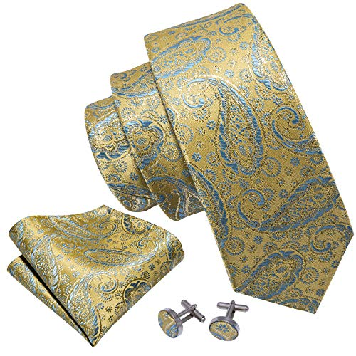 Barry.Wang Yellow Paisley Ties for Men Silk Wedding Tie Set Hanky Cufflinks