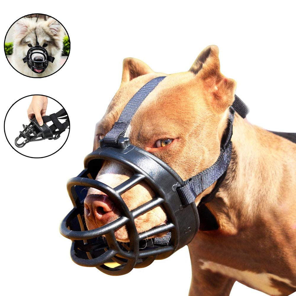 Jinzhao Dog Muzzle,Soft Basket Muzzle for Dogs,Adjustable and Comfortable Secure Pet Muzzle Fit for Medium Large Extra Dog,Best to Prevent Biting, Chewing and Barking, Allows Drinking and Panting by MINGRI