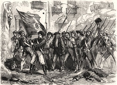 Sicily revolution. Freed prisoners shooting their gaoler, Palermo. Italy - 1860 - old print - antique print - vintage print - printed prints of Italy 1860 Italy Antique
