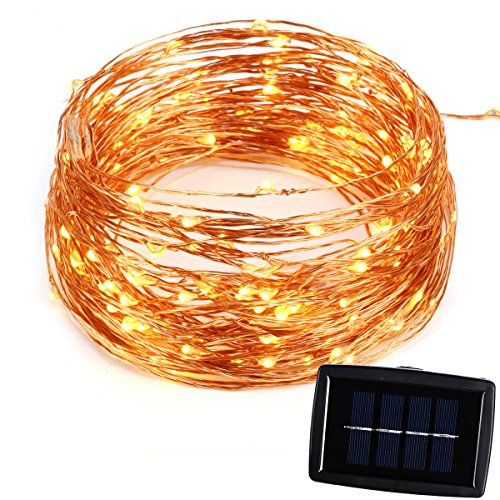 BMOUO 72Ft 150 LEDs Solar String Lights - Copper Wire Starry LED String Lights Waterproof for Outdoor/Indoor Decoration Christmas Wedding Home Garden Parties (Warm White)
