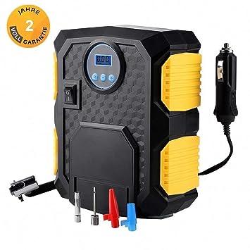 Mbuynow Auto Compresor, neumáticos Bomba 12 V Compresor Bomba para coches con LED de luz y ...