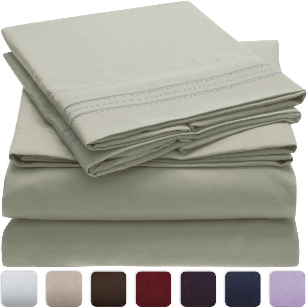 Bolbom*s Bed Sheet Set -Brushed Microfiber 1800 Bedding - Wrinkle, Fade, Stain Resistant - Hypoallergenic - 4 Piece (King, Spa Mint)