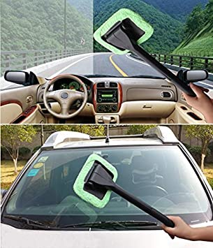 2 Windshield Clean Car Glass Cleaner Wiper Handle Wand Microfiber Cloth Auto New by Kole Imports: Amazon.es: Coche y moto
